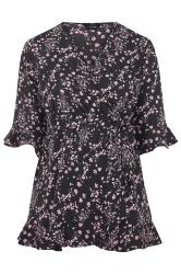 Black & Lilac Floral Wrap Top