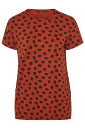 LIMITED COLLECTION Rust Animal Marking Dipped Hem T-Shirt