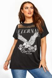 Black 'Eternal' Eagle Slogan Top