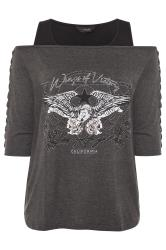 Charcoal Grey Stud Wings Print Cold Shoulder Top