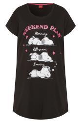 Black Snoopy Glitter 'Weekend Plan' Slogan Nightdress