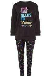 Black Heart Print Relax Slogan Lounge Set