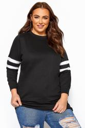 Black Varsity Stripe Sweatshirt