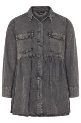 Grey Smock Denim Shirt