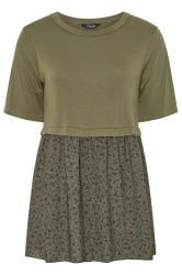 LIMITED COLLECTION Khaki Ditsy Hem Smock Top
