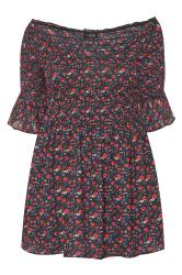 Black Ditsy Floral Shirred Bardot Top