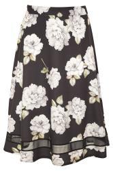 YOURS LONDON Black Floral Mesh Panel Flared Skater Skirt