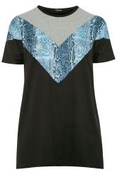 LIMITED COLLECTION Black & Blue Snake Chevron T-Shirt