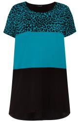Teal Blue Animal Print Colour Block Top