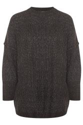 Oversized gebreide trui in gemêleerd zwart