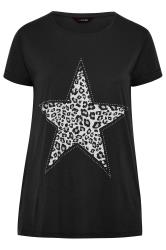 Black Animal Print Star Studded Top