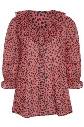 LIMITED COLLECTION Pink Animal Markings Frill Chiffon Blouse