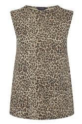 Stone Leopard Print Shoulder Pad Sleeveless Top