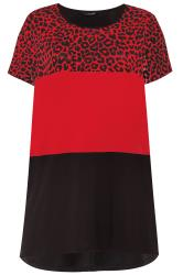 Red Animal Print Colour Block Top