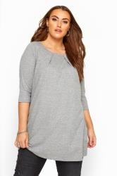 Grey Marl Tunic With Pleated Front
