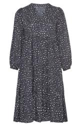 LIMITED COLLECTION Grey Leopard Print Tiered Smock Midi Dress