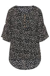 Black Heart Print Dipped Hem Smock Top