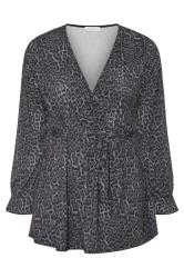 YOURS LONDON Grey Animal Print Belted Wrap Top