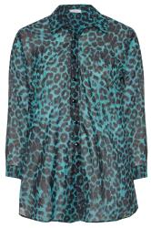 YOURS LONDON Teal Blue Leopard Chiffon Shirt