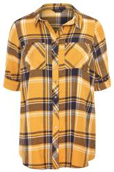 Mustard Yellow & Navy Check Studded Boyfriend Shirt