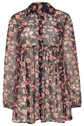 LTS Black Floral Peplum Dobby Chiffon Shirt