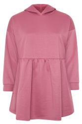 Aangerimpelde hoodie met lange mouwen in roze