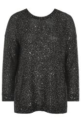 Black Sequin Lattice Back Knitted Jumper