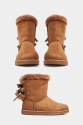 Brown Vegan Faux Suede Bow Detail Boots In Extra Wide Fit
