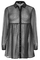 LTS Black Peplum Dobby Chiffon Shirt