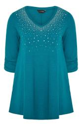 Teal Blue Diamante Stud Knitted Top