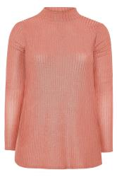 YOURS LONDON Pink Metallic Ruched Sleeve Ribbed Top