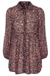 LTS Black Star Print Peplum Dobby Chiffon Shirt