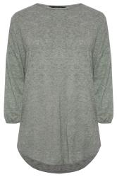 Sage Marl Soft Dipped Hem Knitted Top