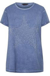 Blue Acid Wash Stud Star T-Shirt