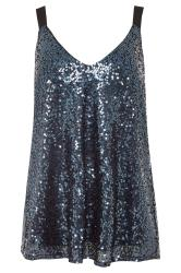 LTS Midnight Blue Sequin Cami Top
