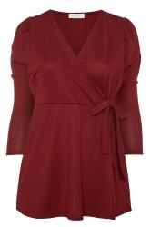 YOURS LONDON Wine Red Wrap Peplum Blouse