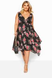 Black & Pink Floral Hanky Hem Dress