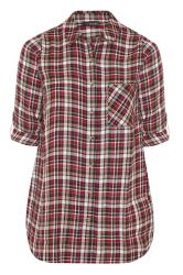Red Mixed Check Boyfriend Shirt