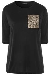LIMITED COLLECTION Black Leopard Print Pocket Top