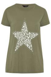 Khaki Animal Print Star Studded Top