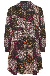 LIMITED COLLECTION Florales Patchwork Hemd Kleid, Schwarz