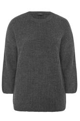 Grey Wide Balloon Sleeve Chunky Knitted Jumper