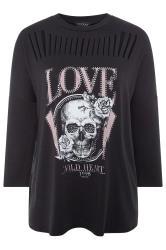 Black Skull Stud Laser Cut Sweatshirt