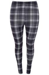 Black Check Jersey Leggings