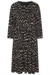 Midaxi-jurk met dierenprint en ballonmouwen in zwart