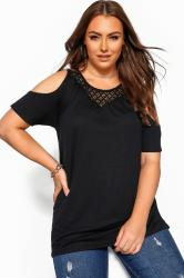 Black Cold Shoulder Crochet Lace Top