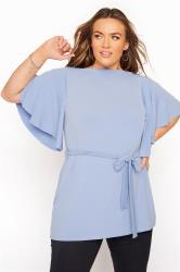 YOURS LONDON Blue Slinky Belted Top