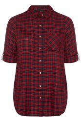 Red & Blue Check Boyfriend Shirt