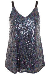 YOURS LONDON Blue Iridescent Sequin Cami Top