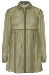 LTS Khaki Peplum Dobby Chiffon Shirt